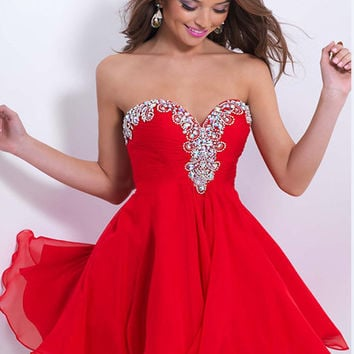 Beaded Sequined Luxury Crystal A Line Cocktail Dress Mini Chiffon Backless Homecoming Dresses 2016