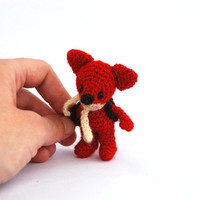 miniature fox stuffed woodland animal little amigurumi fox crocheted wee red fox cuddle little doll red forest animal collectible animal