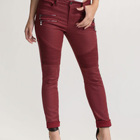 Moto Rider Textured Coated Skinny Jeans
