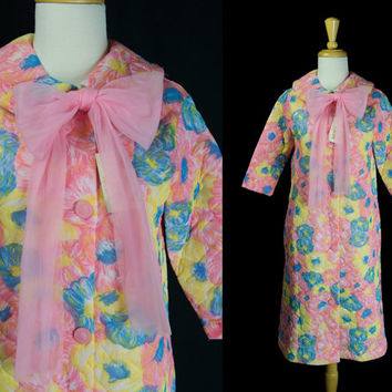 Vintage 1970's Girls Bed Jacket Robe New Old Stock Hot Pink Big Bow