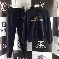 Gucci Top Sweater Pullover Pants Trousers Set Two-Piece Sportswear Black