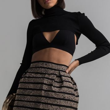 AKIRA High Waist Zip Up Metallic Stud Mini Skater Skirt in Black Multi