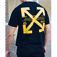 OFF-WHITE 2019 Limited Simple and Fashionable Round Neck Half Sleeve T-Shirt Black
