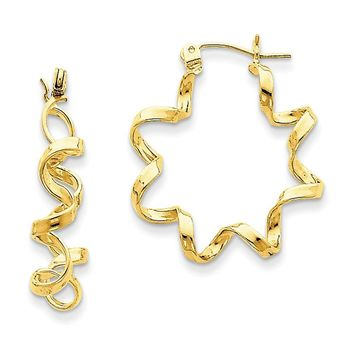 14k Yellow Gold Fancy Spiral Hoop Earrings