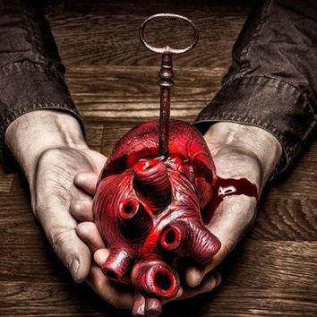 Living room home wall decoration sill fabric poster DARK evil horror spooky creepy human heart