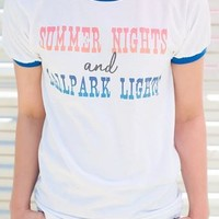"Gina ""Summer Nights & Ballpark Lights"" Royal Ringer Tee"