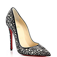 Christian Louboutin - So Pretty Cutout Patent Leather, Suede & Glitter Pumps - Saks Fifth Avenue Mobile