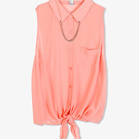 Sleeveless Chained Collar Shirt