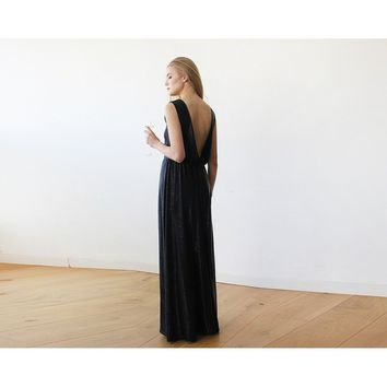 Backless Sleeveless Metallic Black Maxi Dress 1127