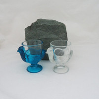 Vintage Pair of Chicken Egg Cups, Vintage French Glass Hen Egg Holders, Blue and Clear Glass Egg Cups