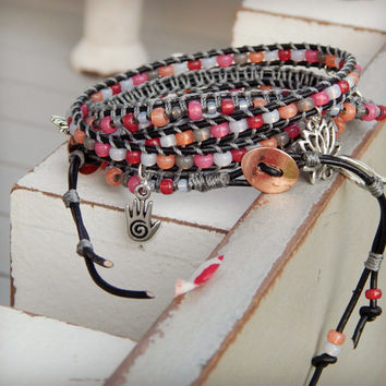 Fall Red Pink Coral and Gray Luck Charm ladder wrap ARM PARTY, leather stacking bracelet, seed bead and leather boho bracelet