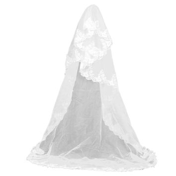 3M Embroidery Floral Lace Edge Bridal Wedding Veil Mantilla