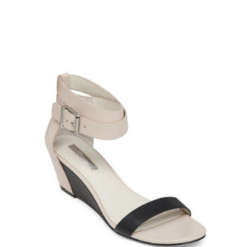 VIVIAN ANKLE WRAP WEDGE SANDAL in Black - BCBGeneration