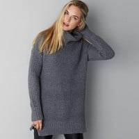 AEO Side Zip Turtleneck Sweater, Frozen Ivory | American Eagle Outfitters