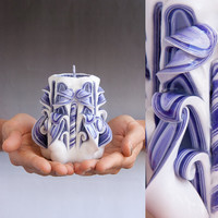 Purple candle - White candle -  Carved candle - Small candle