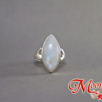 Rainbow Moonstone Marquise Curved Sterling Silver Ring SS-048