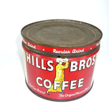 Vintage Hills Bros Coffee Tin With Lid 1/2 Pound Size Advertising