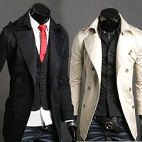 Double Breasted Men's Slim Fit Trench Coat