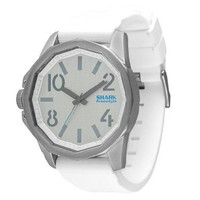 Freestyle 101382 Men's Shark The Step Grey Dial Stainless Steel White Silicone Strap Watch