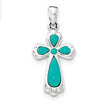 Sterling Silver Polished Imitation Turquoise Cross Pendant