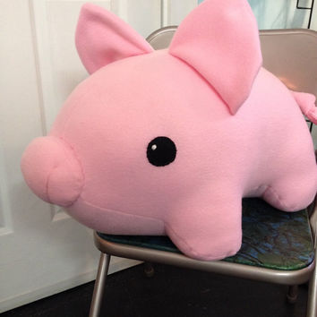 Giant fleece pink pig stuffed animal or plushie
