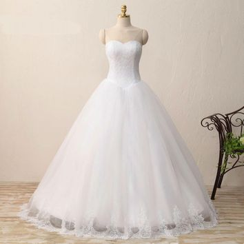 Lace Tulle Bridal Dresses Sleeveless Sweetheart Wedding Dress Sexy Ball Gown Zipper Of Back