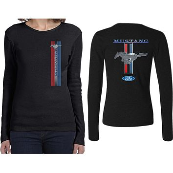 Buy Cool Shirts Ladies Ford Mustang T-shirt Stripe Long Sleeve Front and Back