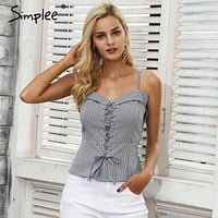 Simplee Lace up zipper strap camisole tank top female Backless elastic casual cropped top women Skinny streetwear cami top