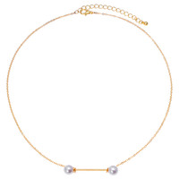 Gold Bar Pearl Necklace