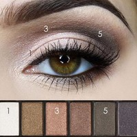 New Pro 6 Colors Waterproof Anti-Smudge Eyeshadows Powder Palette