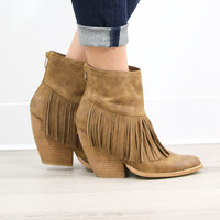 Very Volatile Maple Valley Pointed Toe Beige Fringe Booties With Chunky Wedge Heel