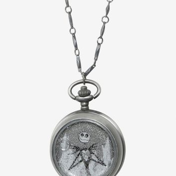 Licensed cool Disney The Nightmare Before Christmas Jack Snow globe Pocket Watch Necklace NWT