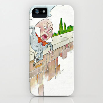 Humpty Dumpty iPhone Case - vintage book art nursery rhyme childrens story retro cases cute drawing white background FREE shipping to USA