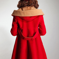 Red cape winter coat double breasted hooded cashmere wool coat hooded cloak jacket BJ039
