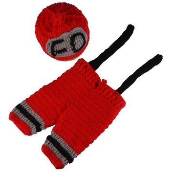 Fireman Overalls Photography Crochet Costume Set For Baby