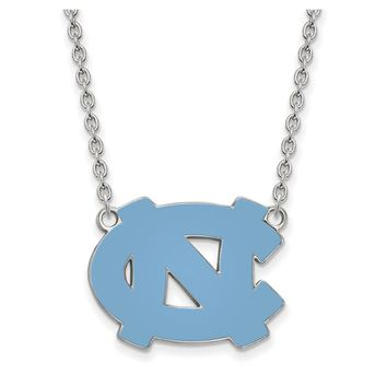 NCAA Sterling Silver North Carolina 'NC' Enameled Pendant Necklace
