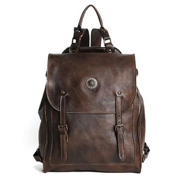 Handmade Retro Full Grain Leather Backpack