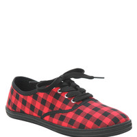 Red And Black Plaid Lace-Up Shoes
