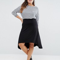 ASOS CURVE Midi Skater Skirt With Hi Lo Hem at asos.com