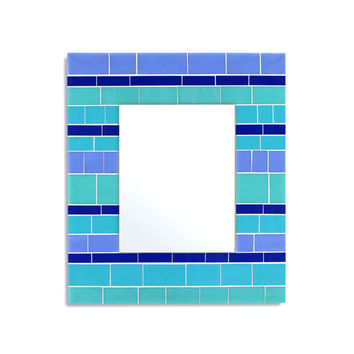 Glass Mosaic Wall Mirror in Blue Stained Glass Tiles – 4 Sizes Available