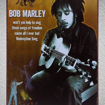 Bob Marley Guitarist Singer Music Garage Shop Tin Plate Signs wall man cave Decoration Art retro vintage Poster metal