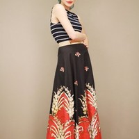 organic floral print, vintage maxi wrap skirt in red and black | shopcuffs.com