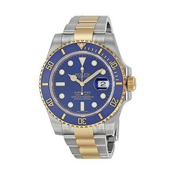 Rolex Submariner Blue Dial Stainless Steel and 18K Yellow Gold Rolex Oyster Automatic Mens Watch