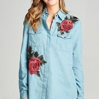 Chambray Embroider Patch Button Down Tunic (final sale)