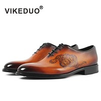 Handmade Vintage retro Designer Wedding Party dance male dress shoe Genuine Leather Men Oxford Shoes