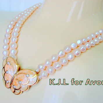 80s Kenneth J. Lane for Avon Modernist Enamel Rhinestone Pink Pearl Necklace / Papillon Collection / Butterfly /  Designer Signed / Vintage