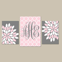 Monogram Wall Art Baby Girl Nursery CANVAS or Prints Wall Art Girl Bedroom Pictures Nursery Pink Gray Artwork Set of 3 Above Crib Decor