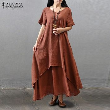 ZANZEA Women 2017 Summer Vintage Casual Loose Short Sleeve Linen Rayon Long Maxi Dress Vestidos Plus Size Oversized Plus Size
