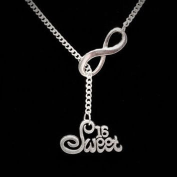 Infinity Sweet 16 Sixteen Daughter Birthday Gift Lariat Style Necklace