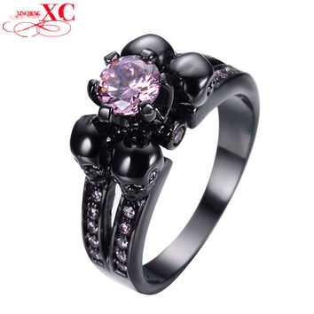 Antique Black Skull Pink Sapphire Jewelry Women/Men Ring Anel Aneis Black Gold Filled Zircon Rings for Halloween Gift RB0335